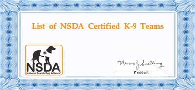NSDA Certified K-9 Teams
